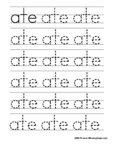 Printing Practice: Sight Words 'Ate' Worksheet