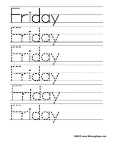Friday Worksheet