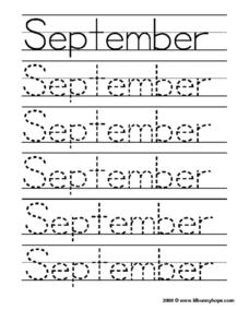 September Worksheet Worksheet