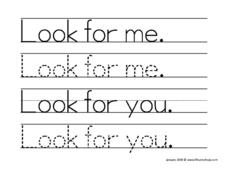 "Tracing ""Look For Me"" and ""Look For You."" Worksheet"