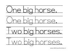 "Tracing ""One Big Horse"" and ""Two Big Horses"" Worksheet"