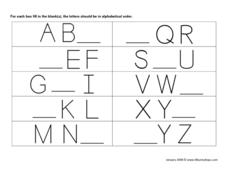 Alphabetical Order Fill in the Blank #5 Worksheet