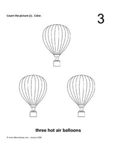 Three Hot Air Balloons Worksheet