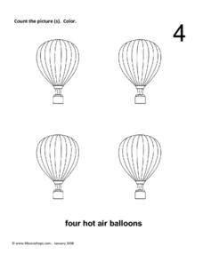 Four Hot Air Balloons Worksheet