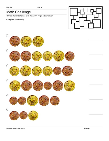 Counting Euro Worksheet for 2nd Grade | Lesson Planet