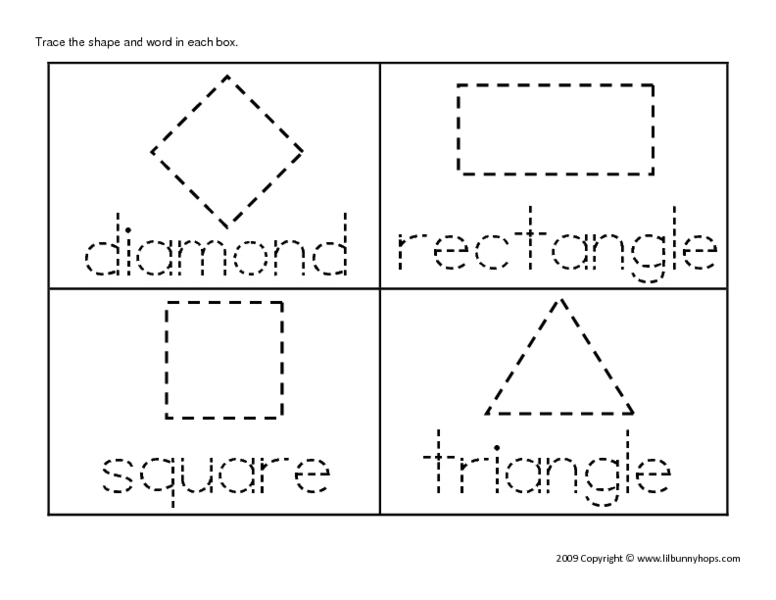 Tracing Geometric Shapes and Their Names Worksheet for Kindergarten ...