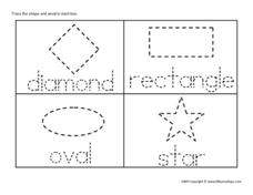 Tracing Words and Geometric Figures Worksheet