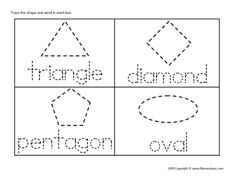 Triangle, Diamond, Pentagon, Oval (Tracing) Worksheet For