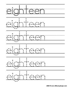 "Tracing the Word ""Eighteen"" Worksheet"