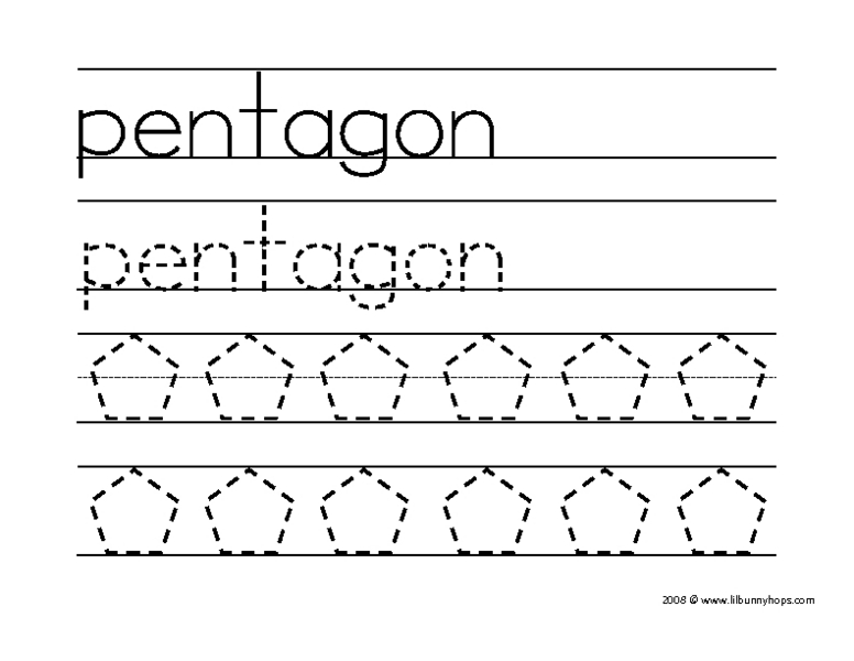 Pentagon (Word And Shape Tracing) Worksheet For