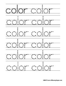 Color Tracing Practice Worksheet