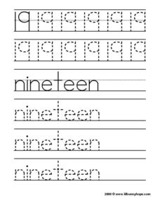 19: Nineteen Worksheet