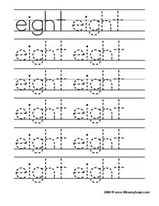 Eight Tracing Practice Worksheet