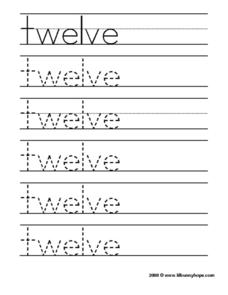 Twelve Tracing Practice Worksheet