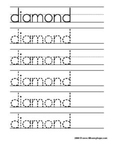 Diamond Tracing Practice Worksheet