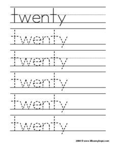 Twenty Tracing Practice Worksheet