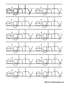 Eighty Tracing Practice Worksheet