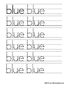Blue Tracing Practice Worksheet