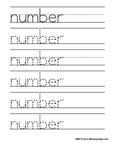 Number Tracing Practice Worksheet