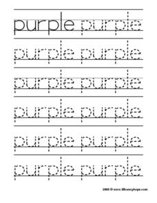 Purple Tracing Practice Worksheet