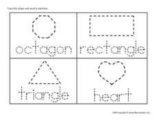 Naming and Tracing Shapes Worksheet