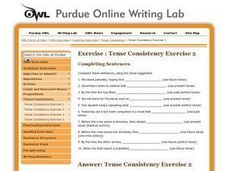 Tense Consistency Exercise 2 Worksheet