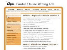 Adjective or Adverb Exercise 2 Worksheet