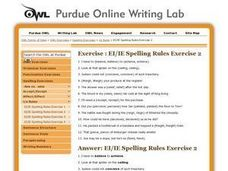 Spelling Rules: Ei / IE Worksheet