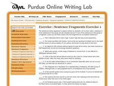 Sentence Fragment Editing Worksheet