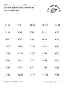 Division Basic Facts: Divisor 5-10 Worksheet
