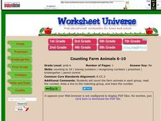 Counting Farm Animals Worksheet