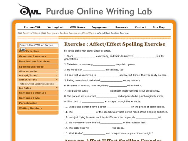 Spelling Exercise: Affect or Effect Worksheet