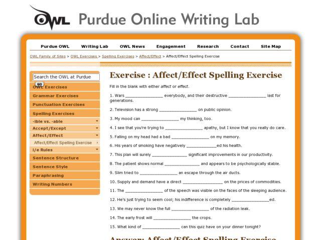Spelling Exercise Affect or Effect 5th 9th Grade Worksheet – Affect Vs Effect Worksheet