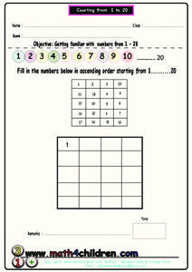 Counting from 1 to 20 Worksheet