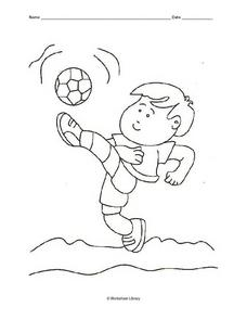 Boy Kicking a Soccer Ball (Coloring) Worksheet
