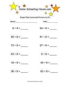 Single Digit Horizontal Division by 9's Worksheet