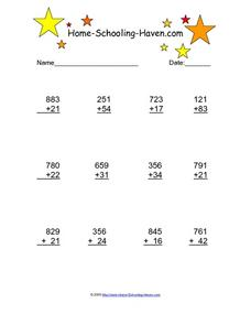 Three Digit Plus Two Digit Addition Worksheet