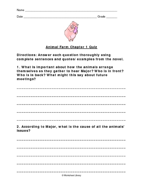 animal farm chapter one summary worksheet for 8th 12th grade lesson planet. Black Bedroom Furniture Sets. Home Design Ideas