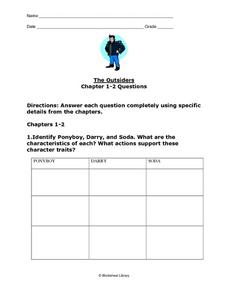 The Outsiders: Chapters 1-2 Questions Worksheet