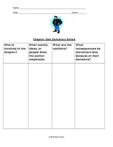 The Outsiders: Chapter One Summary Notes Worksheet