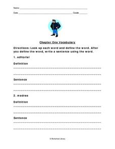 The Outsiders Vocabulary Chap. 1 Worksheet