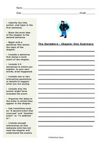 Plot Summary: The Outsiders Worksheet