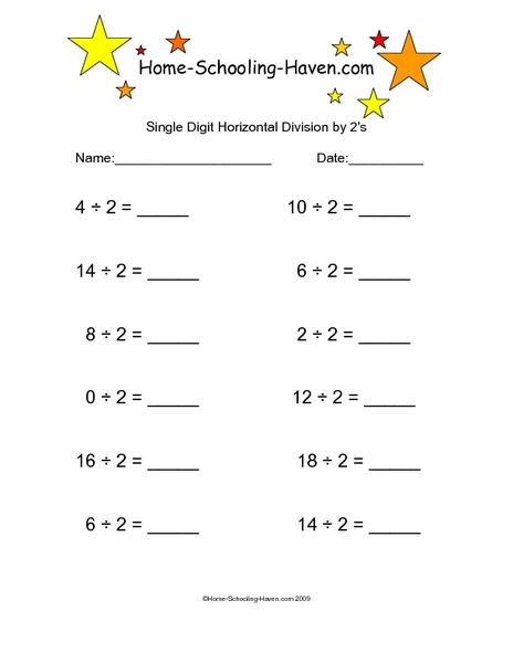 single digit horizontal division by 2s worksheet for 4th grade lesson planet. Black Bedroom Furniture Sets. Home Design Ideas