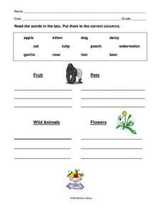 categorizing words 2 worksheet for 1st 3rd grade lesson planet. Black Bedroom Furniture Sets. Home Design Ideas