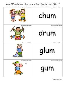 --um Words and Pictures for Sorts and Stuff Lesson Plan
