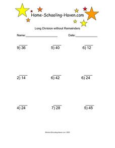 long division without remainders lesson plans  worksheets long division without remainders  worksheet