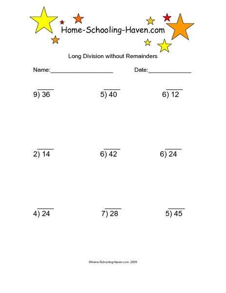 long division without remainders 6 worksheet for 3rd 4th. Black Bedroom Furniture Sets. Home Design Ideas