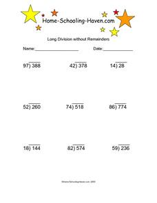 Long Division without Remainders 3 Worksheet
