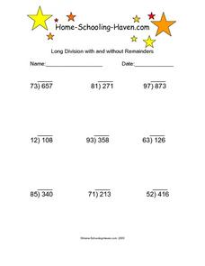 Long Division with and without Remainders 6 Worksheet