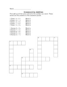 Crossword by Addition 2 Worksheet